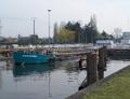 Vaqueros uitvarend sluis Don op het canal Sur Deule.